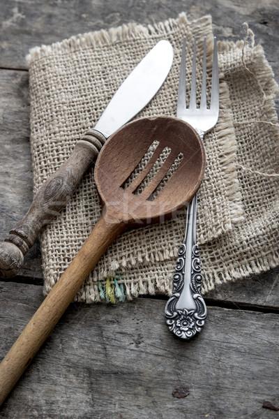 приборы таблице Mess серебро деревенский деревянный стол Сток-фото © nessokv