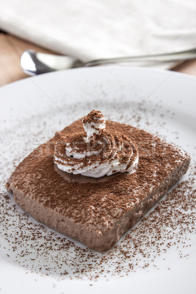 chocolate mousse portion  in white plate Stock photo © nessokv