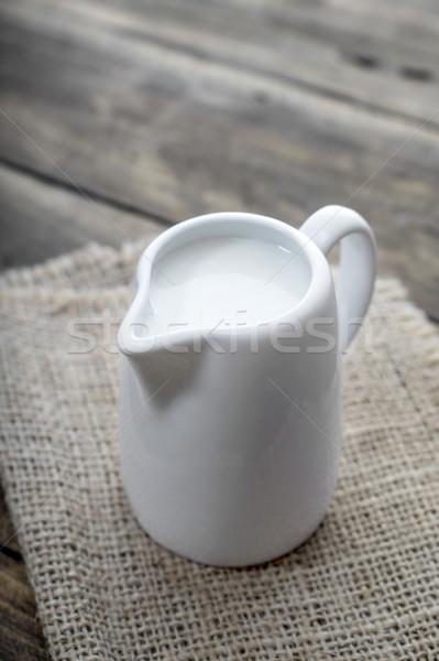 カップ ミルク 木製のテーブル 健康 ドリンク ストックフォト © nessokv