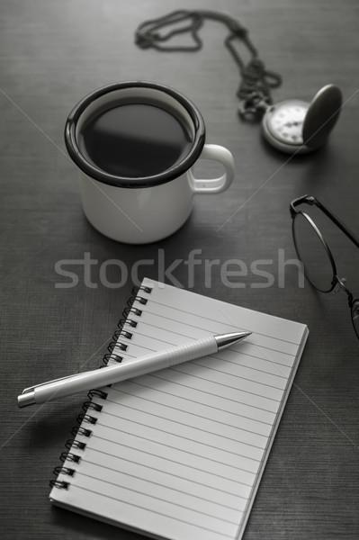 Dolgozik asztal feketefehér személyes kávé notebook Stock fotó © nessokv
