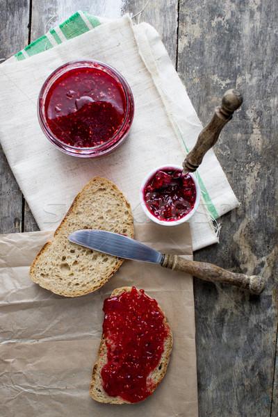 raspberry jam on the table Stock photo © nessokv