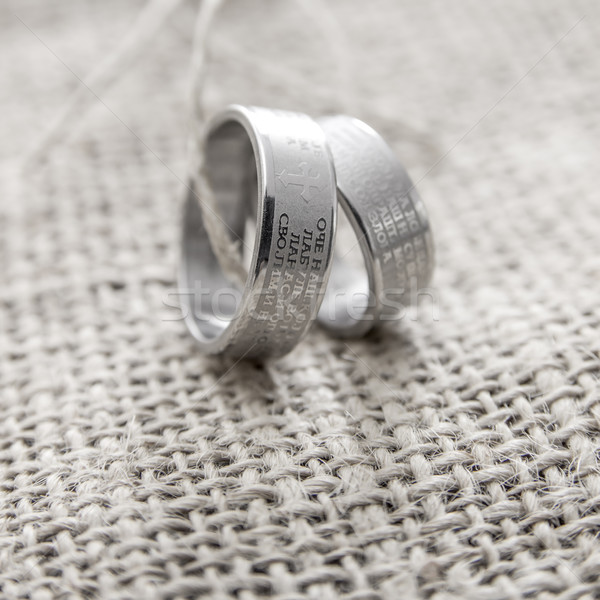 Rings Engraved With The Lords Prayer In Serbian Stock photo © nessokv