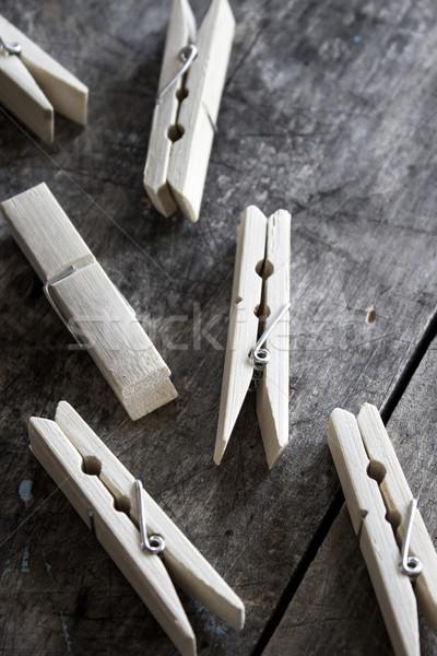 Fából készült ruházat fa asztal közelkép fa retro Stock fotó © nessokv