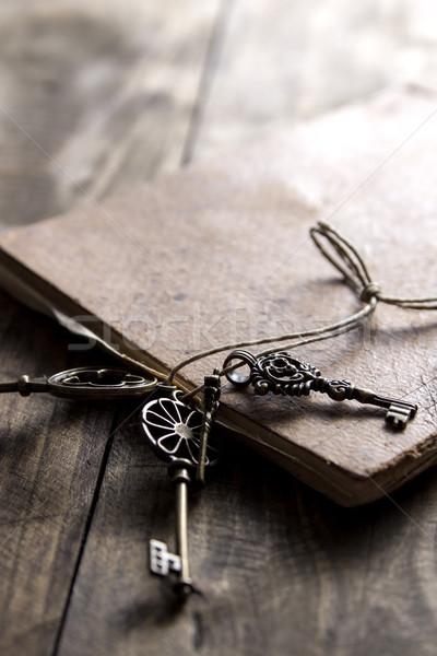 Starej książki mosiądz kluczowych vintage powierzchnia Zdjęcia stock © nessokv