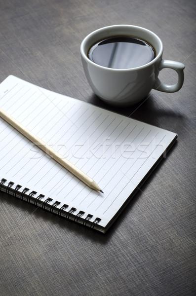 Bianco notebook pen Cup caffè desk Foto d'archivio © nessokv