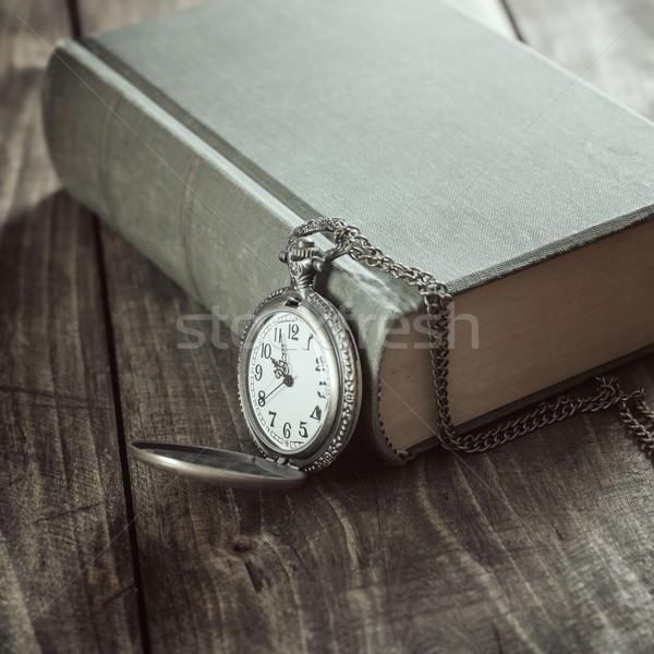 ヴィンテージ 懐中時計 古い 図書 写真 ストックフォト © nessokv