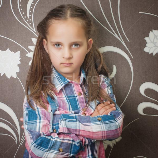 Close up photo of beautiful little girl Stock photo © nessokv