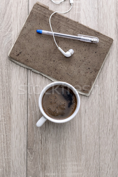 Stockfoto: Detail · koffie · notepad · potlood