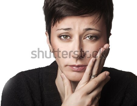 Beautiful woman having toothache Stock photo © nessokv