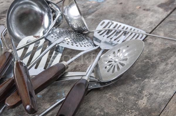 старые Vintage металл суп ложку таблице Сток-фото © nessokv