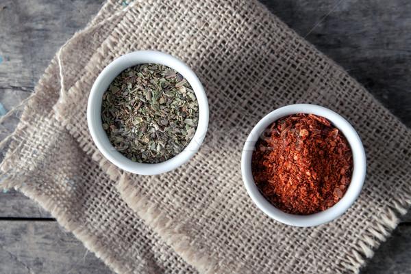 pepper and  oregano in bowls Stock photo © nessokv