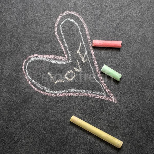 愛 書かれた 黒板 ポジティブ にログイン メッセージ ストックフォト © nessokv