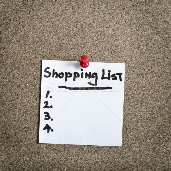 Emlékeztető öntapadó jegyzet parafa tábla vásárlás lista szöveg Stock fotó © nessokv