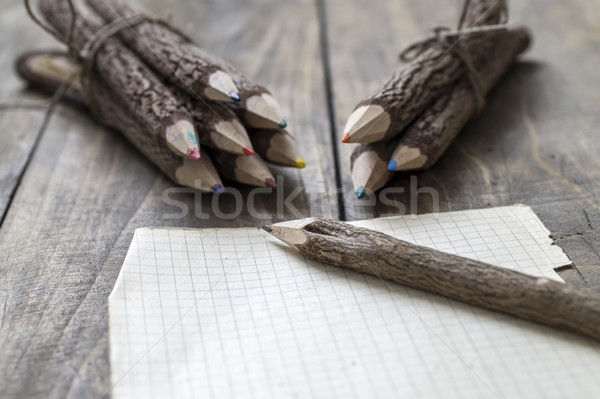 Group of bark covered branch multicolored pencils Stock photo © nessokv