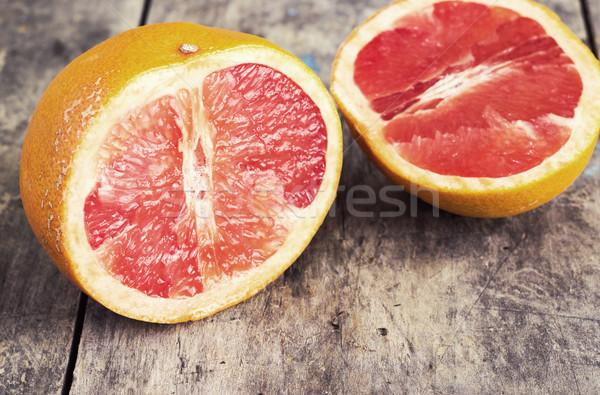 Foto stock: Rojo · pomelo · edad · mesa · frutas