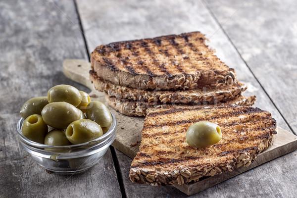 焼いた パン オリーブ 表 黒 ストックフォト © nessokv