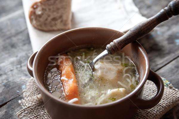 Fatto in casa brodo di pollo tavola la luce naturale alimentare pasta Foto d'archivio © nessokv
