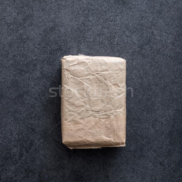 Csomag ráncos barna papír fa karácsony papír textúra Stock fotó © nessokv
