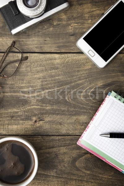 Foto stock: Café · caderno · telefone · tabela · negócio · educação