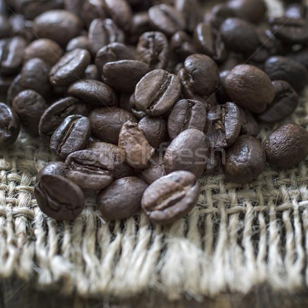 Granos de café arpillera textura café Foto stock © nessokv
