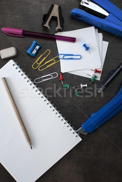 школьные принадлежности пер карандашом фон инструменты Сток-фото © nessokv