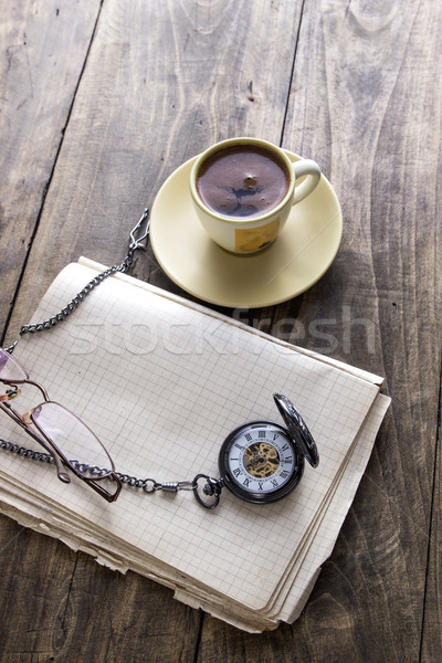 Bağbozumu fincan kahve eski kitap Stok fotoğraf © nessokv