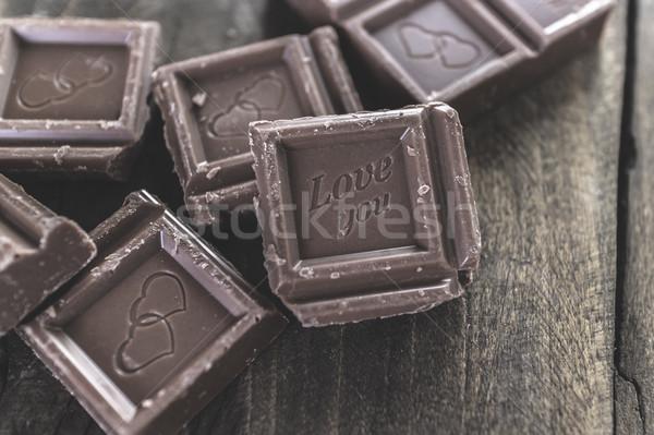 Stukken chocolade houten liefde snoep gebroken Stockfoto © nessokv