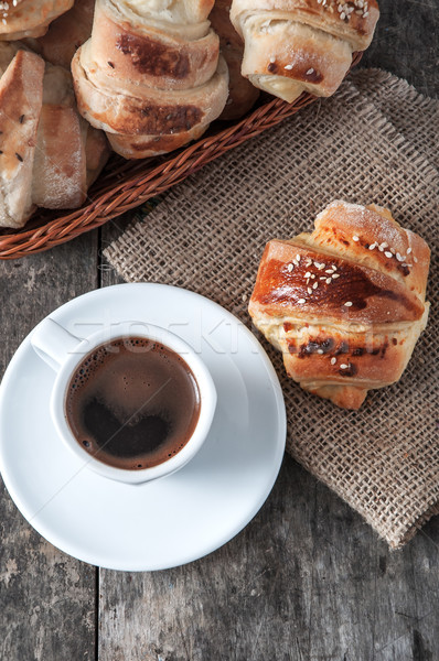 cup of coffee and croissants Stock photo © nessokv