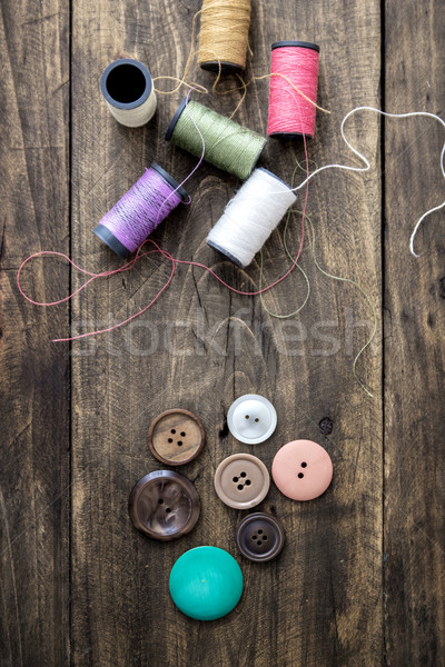 Sewing kit. Scissors and  bobbins with thread Stock photo © nessokv
