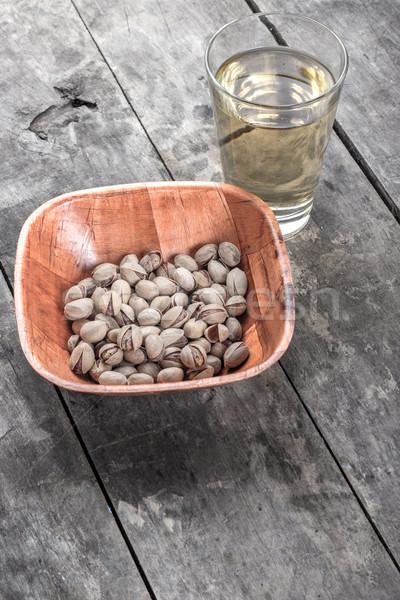 リンゴジュース 木製のテーブル フルーツ ガラス デザート ナット ストックフォト © nessokv