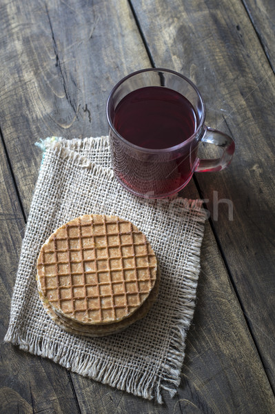 dutch waffles with caramel on wooden background Stock photo © nessokv