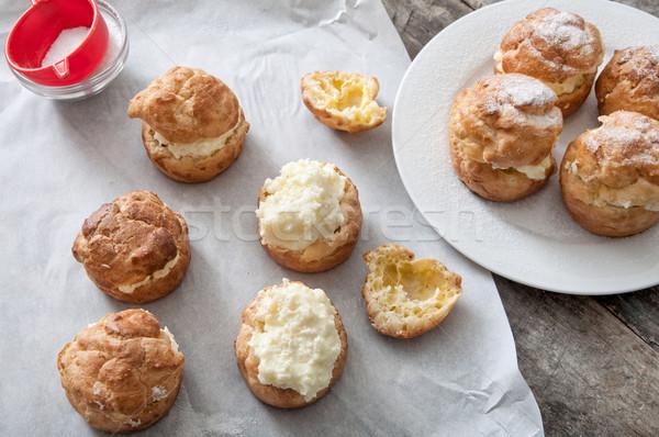 Room vanille vla icing tabel dessert Stockfoto © nessokv
