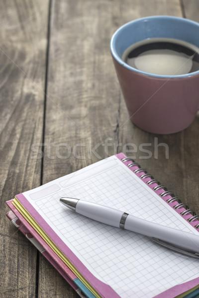 Büro defter kahve ahşap Stok fotoğraf © nessokv