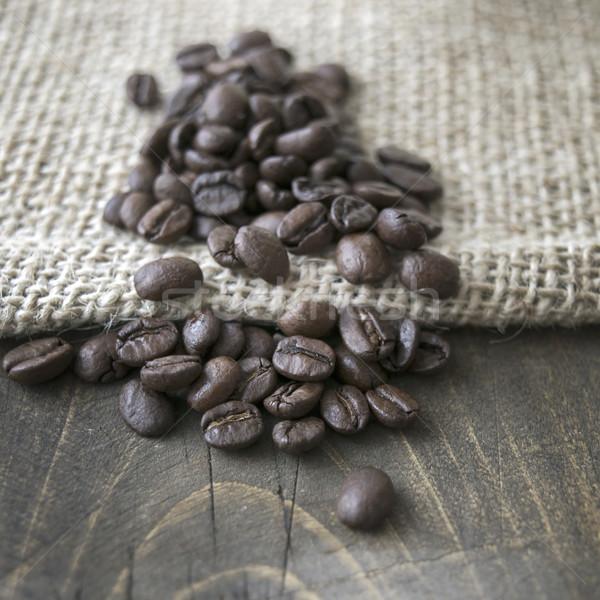 Grãos de café pano de saco saco café Foto stock © nessokv