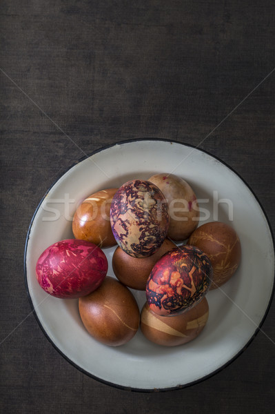 カラフル イースターエッグ プレート 木製 抽象的な 卵 ストックフォト © nessokv