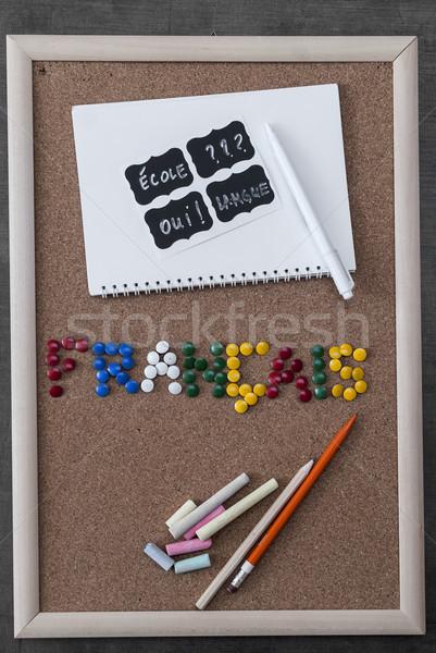 школьные принадлежности пер карандашом инструменты назад Сток-фото © nessokv