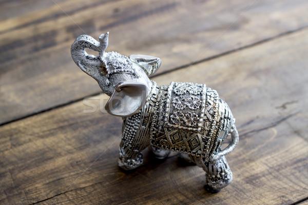 Indiano elefante estatueta mesa de madeira modelo Foto stock © nessokv