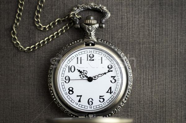 Foto edad vintage reloj de bolsillo rústico madera Foto stock © nessokv