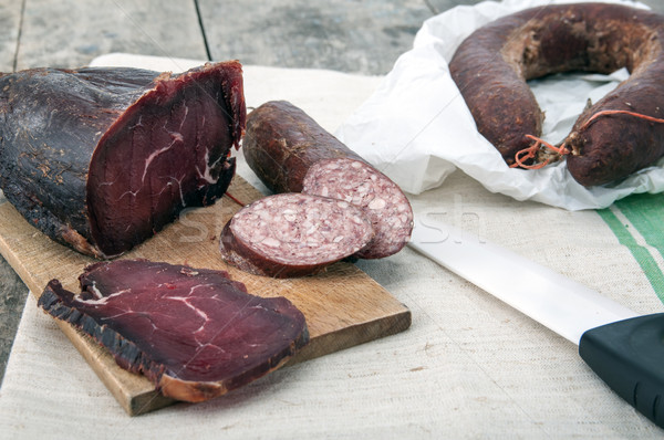 Stock photo: Homemade natural veal dried meat