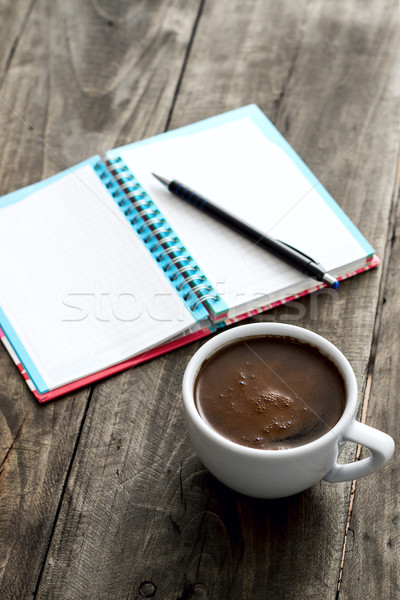 work place with coffee and notepad Stock photo © nessokv