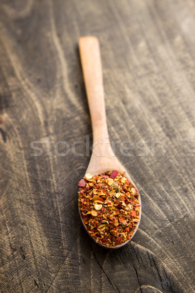 ground cayenne pepper in wooden spoon Stock photo © nessokv