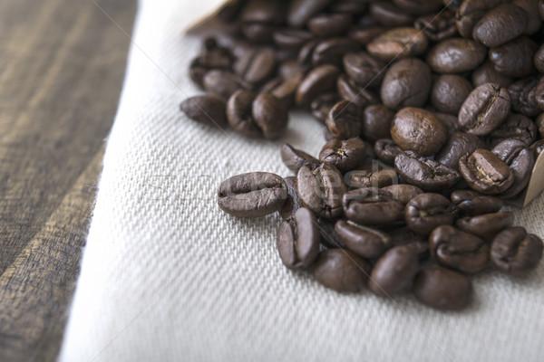 Chicchi di caffè vecchio tavola caffè bere Foto d'archivio © nessokv