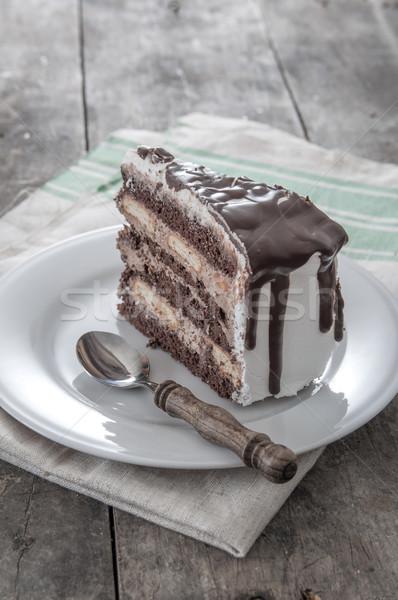Bolo de chocolate fatia prato chocolate bolo Foto stock © nessokv