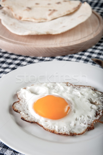 Sahanda yumurta plaka masa örtüsü çatal Stok fotoğraf © nessokv