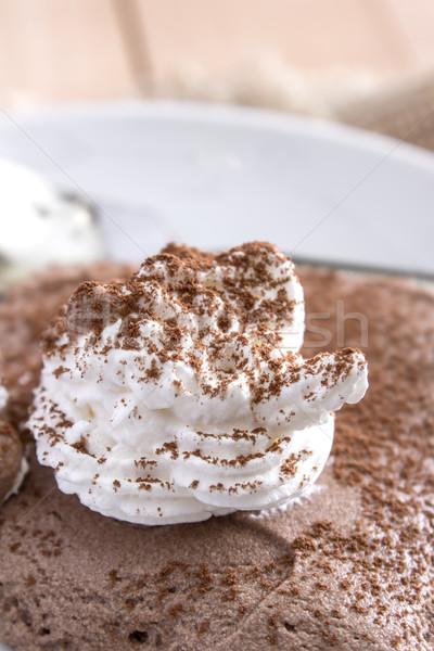 Mus czekoladowy biały tablicy czerwony Zdjęcia stock © nessokv