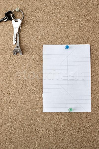 Parafa tábla jegyzet kulcsok közelkép papír háttér Stock fotó © nessokv