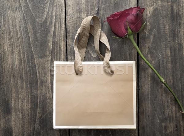 小 袋 赤いバラ 木製 赤 ショップ ストックフォト © nessokv