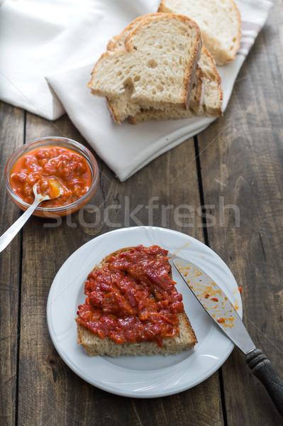 ломтик хлеб домашний деревянный стол Салат приготовления Сток-фото © nessokv