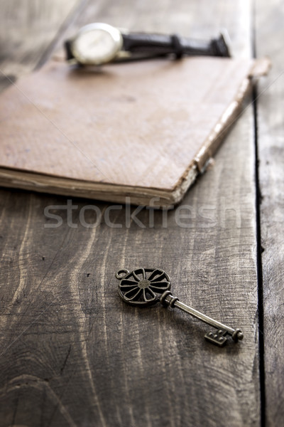 old book and a brass key on a vintage surface Stock photo © nessokv