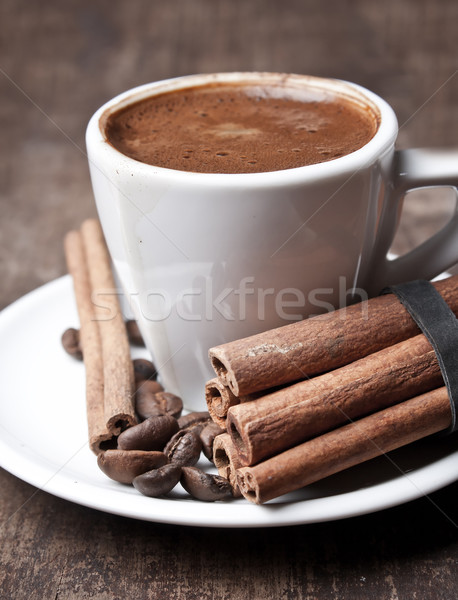 cup of coffee and cinnamon Stock photo © nessokv